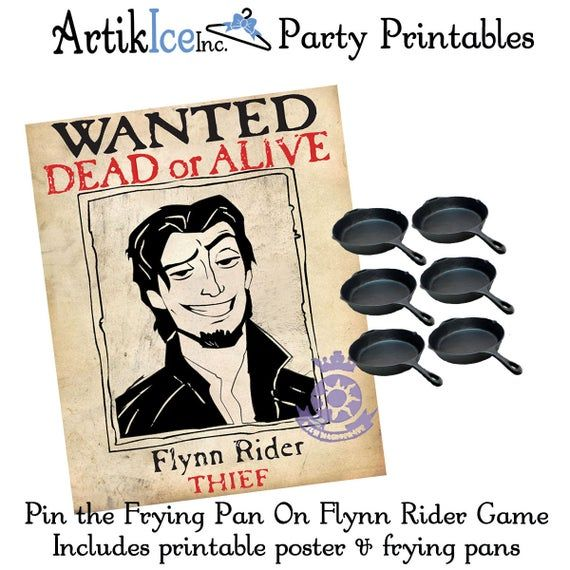 Tangled Birthday Party Game Pin The Frying Pan On Flynn Rider
