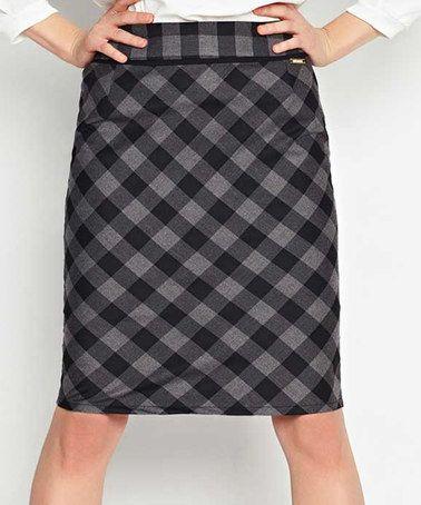 Black & Gray Plaid Skirt #zulily #zulilyfinds