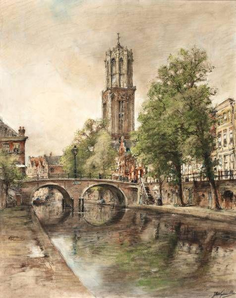 Jan Hillebrand Wijsmuller (1855-1925) De Oude Gracht te Utrecht met zicht op de Domtoren r.o. get.