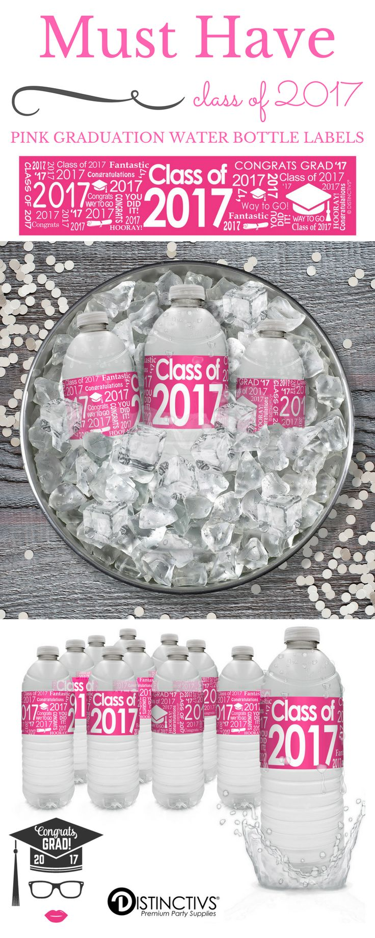 20 Pink Graduation Party Water Bottle Label Stickers for the Class of 2017.