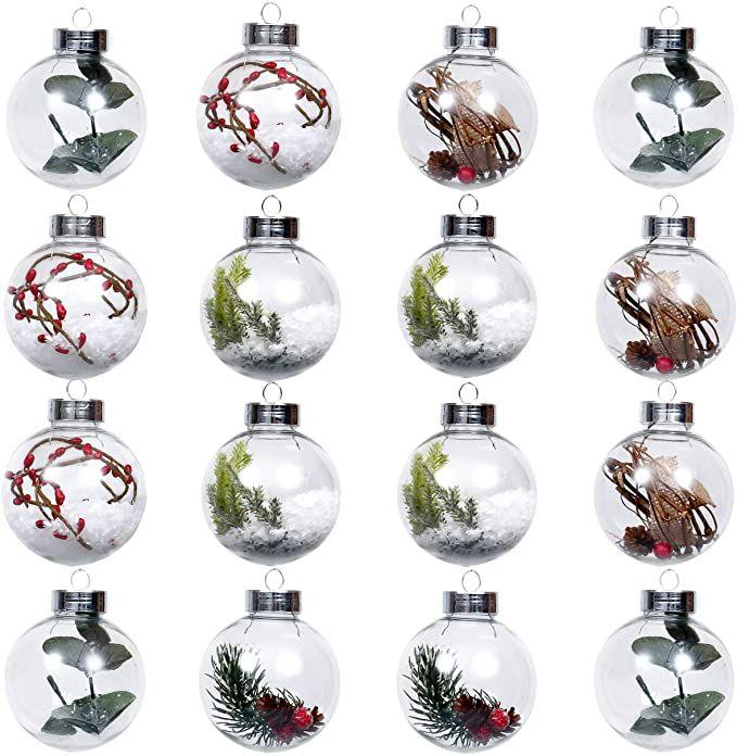 Valery Madelyn Kerstballen 16 Stuks 8cm Kerstballen Klassieke Collectie Rood Groen En Wit Transparant Onbreekbaar K Kerstballen Kerstboomversieringen Ornament