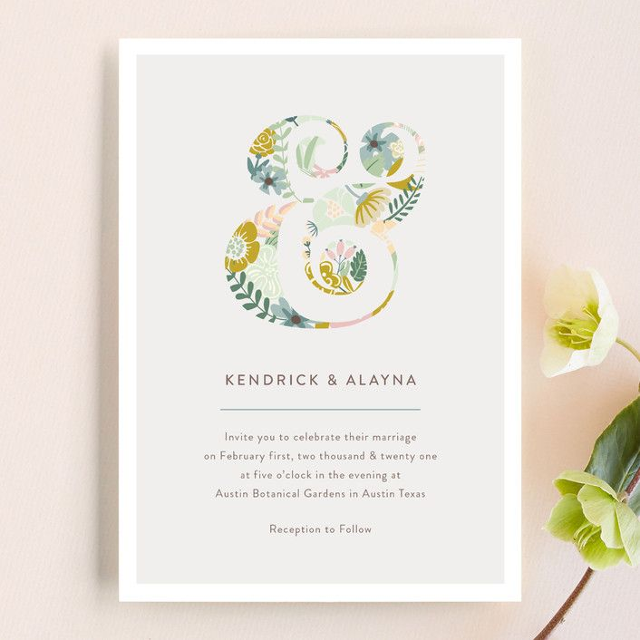 """""""Floral Ampersand"""" wedding invitation design by Minted artist Hanna Mac. Part of the new 2018 Minted wedding invitation collection."""
