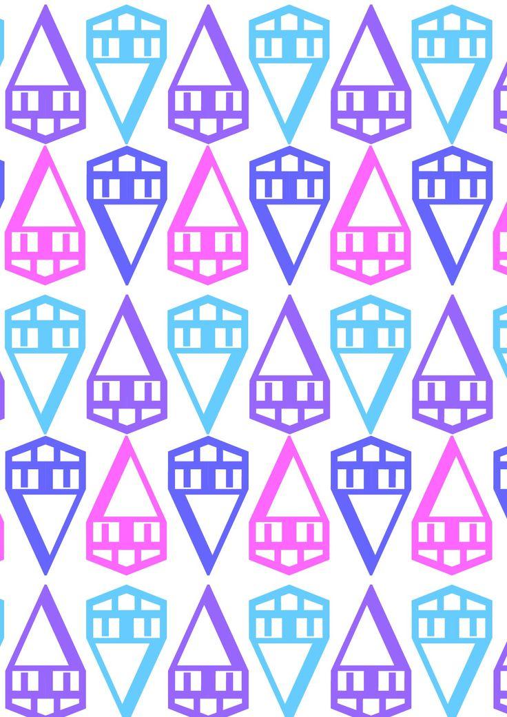 """Geneva Bold (1991), Susan Kare. Aggettivo: Geometrico. Aggettivo ispirato alla semplicità dei tratti che caratterizzano questo font. Glifi usati:. """"∆"""" e """"Æ"""". Colori Usati: rosa, lilla, azzurro e blu."""