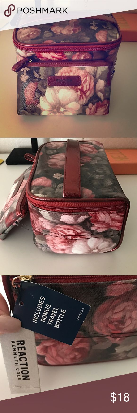 Kenneth Cole Reaction makeup case Kenneth Cole reaction train set/ makeup carrying case. Red handle and zipper with floral design around both cases. NWT Kenneth Cole Reaction Bags Cosmetic Bags & Cases