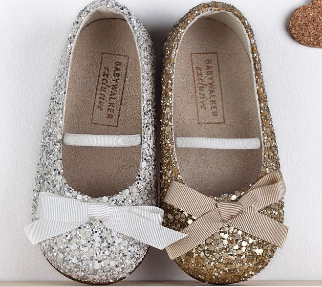Glitter balarinas in Gold and Silver..  SS2015 babywalker luxury shoes