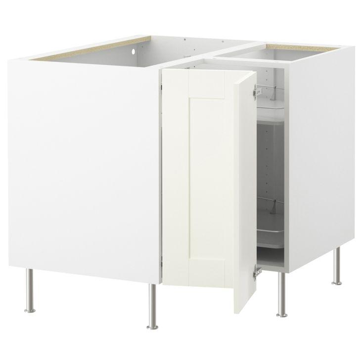 AKURUM Corner base cabinet with carousel - white, Ädel off-white - IKEA