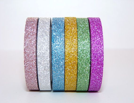 Pack of 6 thin Glitter Washi Tape rolls planner supply  - Gift - decoration