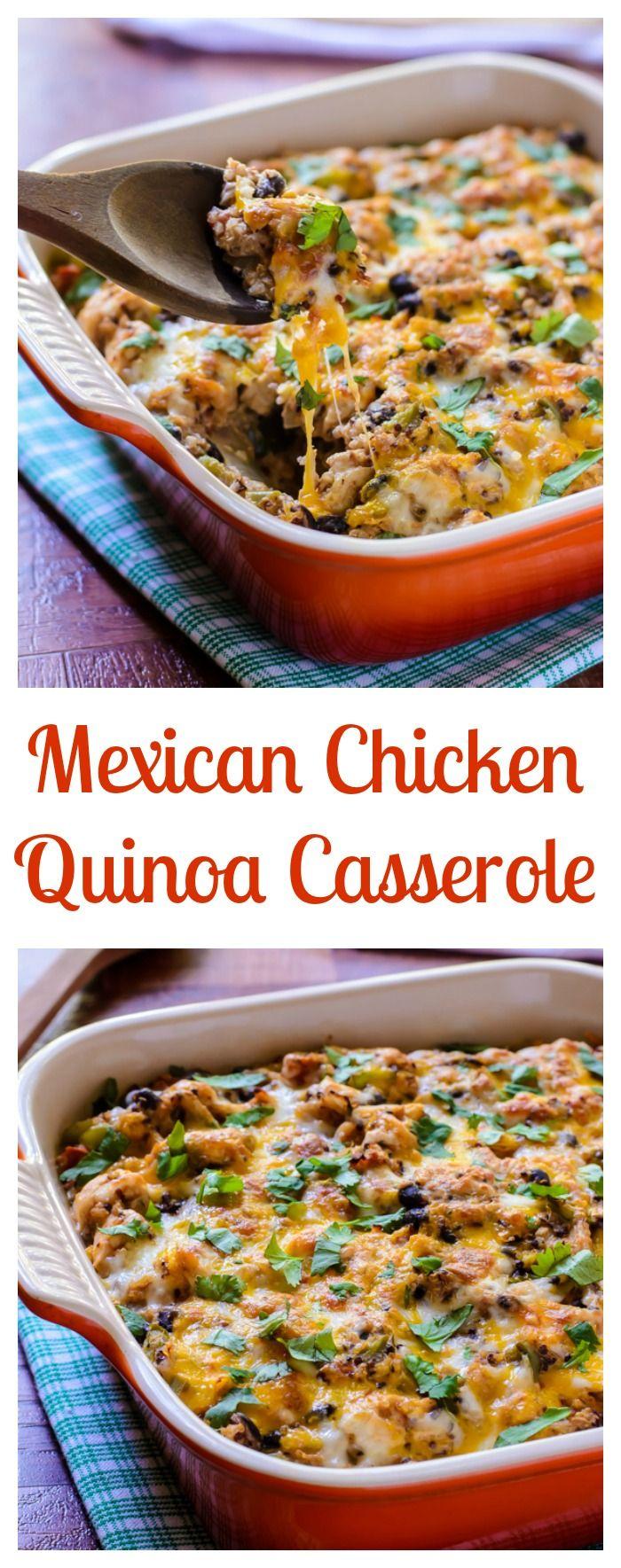 Cheesy Mexican Chicken Quinoa Casserole. Fun family dinner recipe everyone will love!