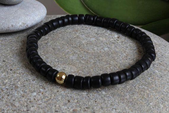 Men's Wooden Beaded Bracelet, Black Wooden Bracelet, Bracelet for Men, Jewelry for Men, Men's Jewelry, Bracelet for Boyfriend, for Husband