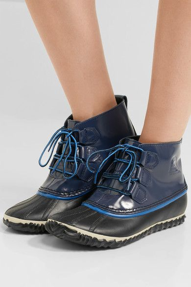 Sorel - Out N About Rain Waterproof Patent-leather And Rubber Boots - Navy - US10.5