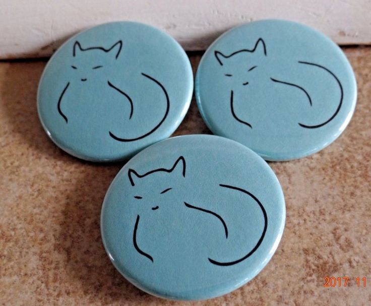 TURQUOISE CAT PIN BROOCH LOGO helps FEED VET FERAL CATS KITTENS FREYAS RESCUE #CatButtonPinLtTurquoise