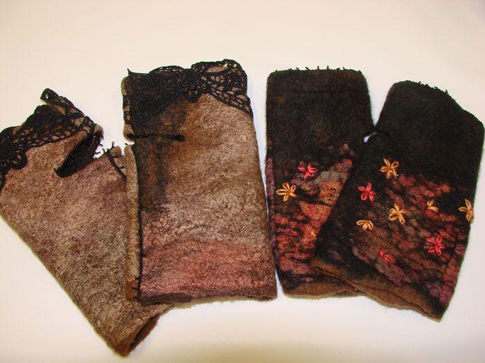 nuno felted fingerless gloves by Jan Bosher