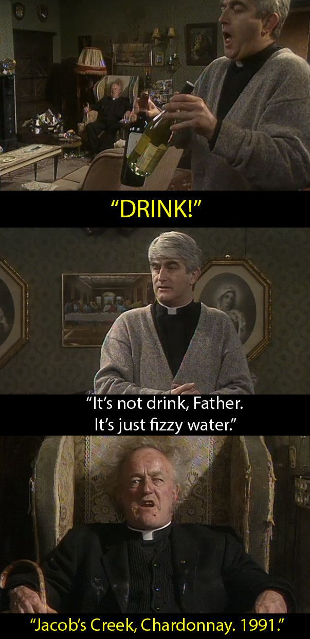 "When Ted tried to hide alcohol in front of Jack. | 14 Moments From ""Father Ted"" That We Will Always Remember Father Jack By"