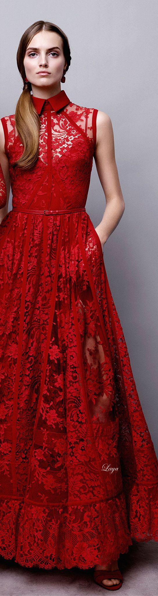 Red lace - Elie Saab Pre-Fall 2015