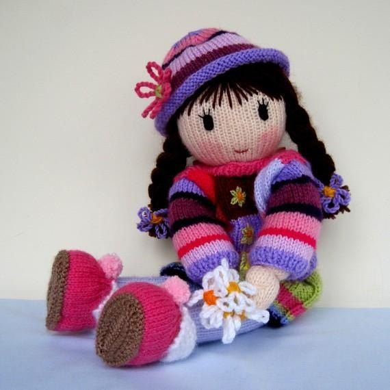 KNITTING PATTERN contains instructions for POSY doll. Clothes include sweater, hat, skirt, panties, Mary Jane shoes and slippers. All can be removed.SIZE: Posy doll - 41cm (16in)NEEDLES: knitted on two straight 3.25 mm needles (US 3)YARN: DK (double knitting) yarn (USA - light-worsted/Australia - 8 ply).Hayfield Bonus DK – Flesh Tone (963) (50g)Stylecraft Special DK – Dark Brown (1004) (hair)Small quantities of DK in red, pink, mauve, purple and pale green to create patchwork sweater, hat…