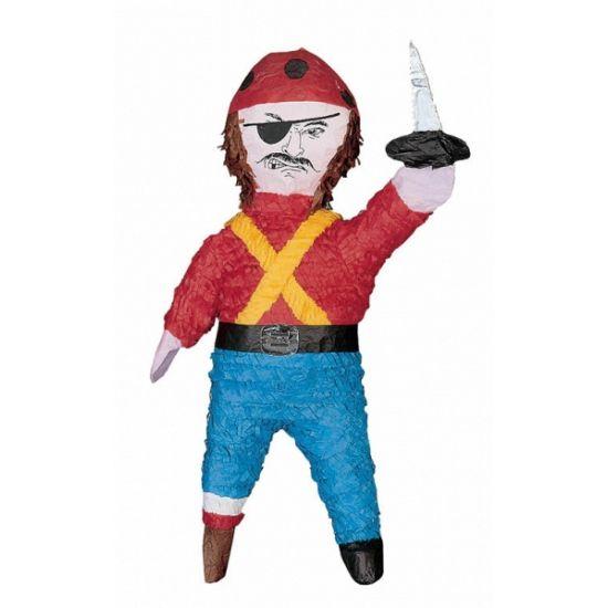 Pinata piraat. Deze piraten pinata heeft een formaat van ongeveer 39 x 13 x 54 cm. De pinata wordt leeg geleverd maar kan gevuld worden met snoep of speelgoed.