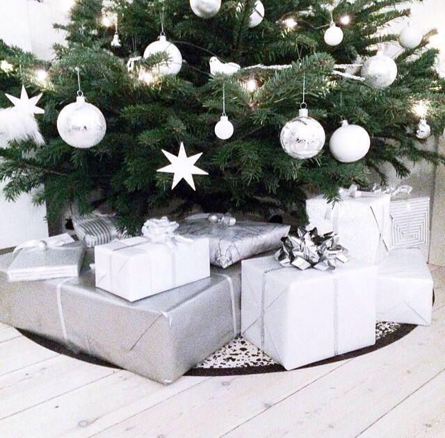 white // grey // christmas presents // simple christmas decor // gift wrap…