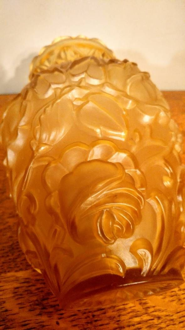 Vintage Frosted Amber Glass Vase with Raised Roses Floral Decoration