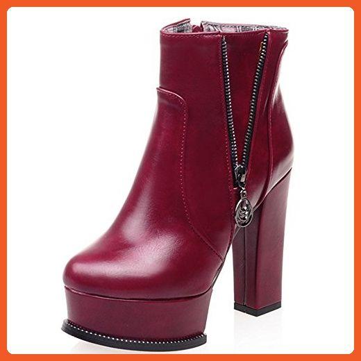 Fashion Heel Platform High Heel Round Toe Chunky Heel Ankle Boot (6, burgundy) - Boots for women (*Amazon Partner-Link)