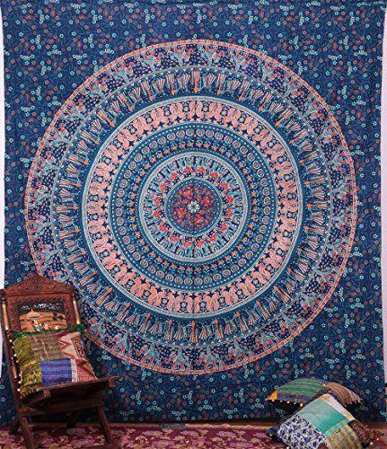 Handicrunch Hippie Elephant Tapisseries Mûr, indienne Mandala Tapisserie Couvre-lit, dortoir tapisserie, murale décorative Suspendre, tapisseries pour dortoirs