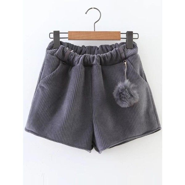 Grey Corduroy Shorts With Pom ($24) ❤ liked on Polyvore featuring shorts, grey, pompom shorts, gray shorts, corduroy shorts, pom pom shorts and grey shorts