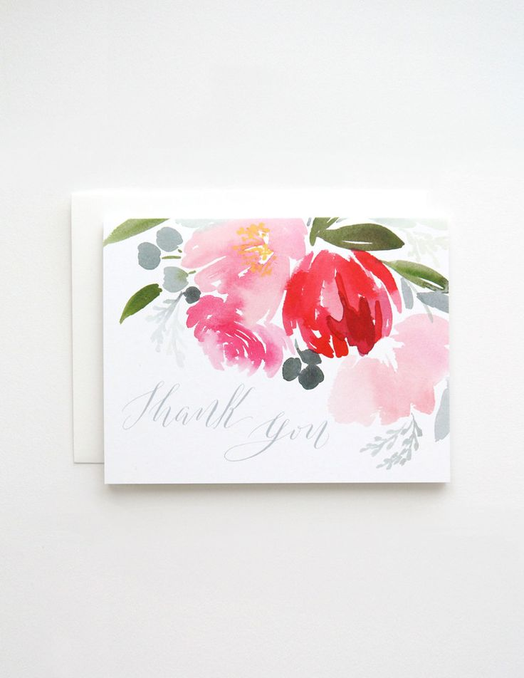 """Spring Floral in Turqoise """"Thank You""""Greeting Card - Yao Cheng Design"""
