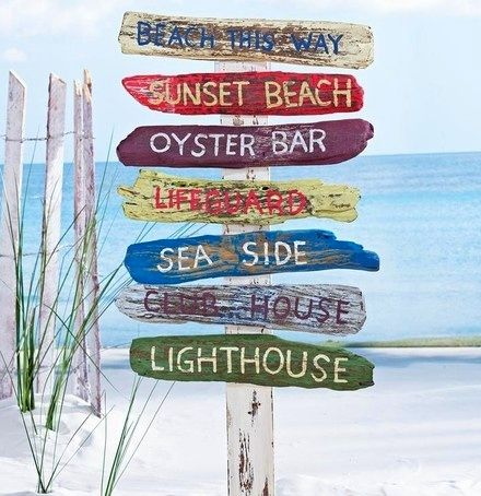 This is just so cute. Begs for a home at a cottage by the shore. Beach sign yard stake from RSH Catalog.