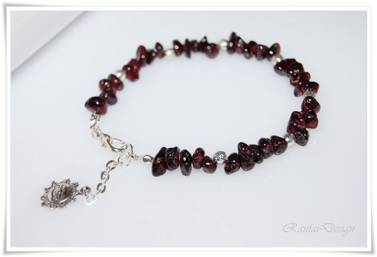 Armband mit roter Granat Edelstein Splitterarmband Edles Armband bracelet jewelry gift for women von rantaiDesign auf Etsy