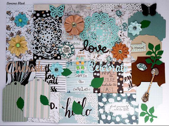 Prima Zella Teal Scrapbooking Paper and Embellishment Kit