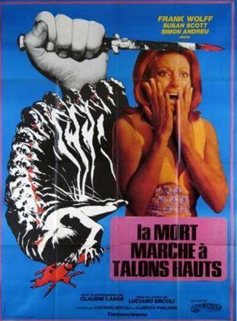 French poster for La morte cammina con i tacchi alti (Death Walks on High Heels), 1971.