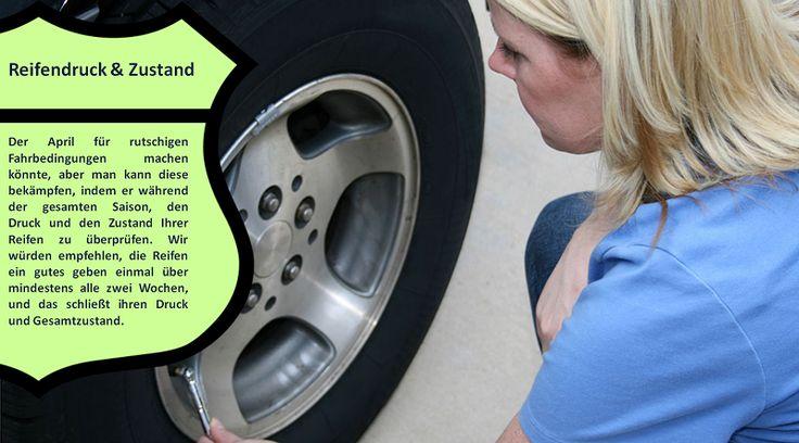 Überprüfen Sie die Reifen mit Reifendruck und Profil  Ungleiche Abnutzung weist auf die Notwendigkeit für die Achsvermessung. Nach einer Saison von harten Bedingungen, Räder richtig ausgerichtet Ihnen helfen, sicher auf der Straße. Überprüfen Sie auch für Beulen und kahle Stellen. Dies sind Anzeichen dafür, dass Sie sich für neue Reifen zu kaufen brauchen. #haftreifen
