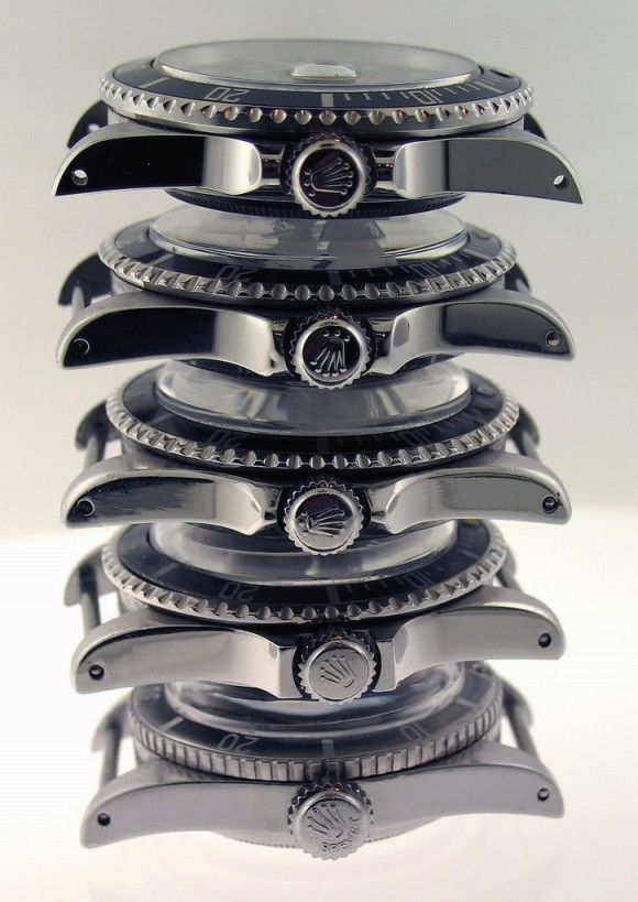 """""""The Evolution of Rolex Submariner Crownguards from 1954 (6200) to modern (16610)  40mm non plexi on top, Brevet x Superdome on the bottom."""""""