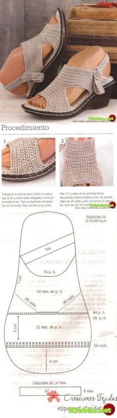 Вязаные сандалики крючком