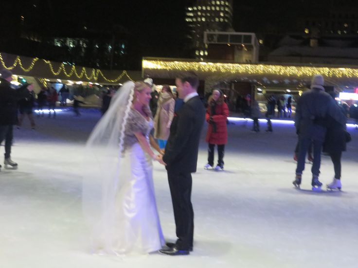 romance on a lit up ice rink.