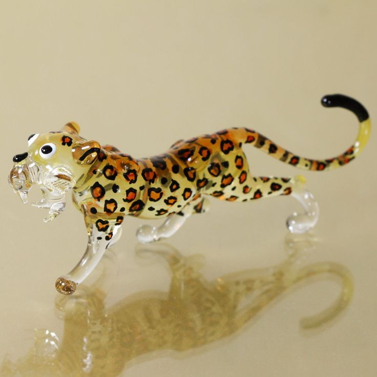 blow glass animals | Leopard TIGER Hand Blown Glass Wild Animal Miniature Figurine Hand ...