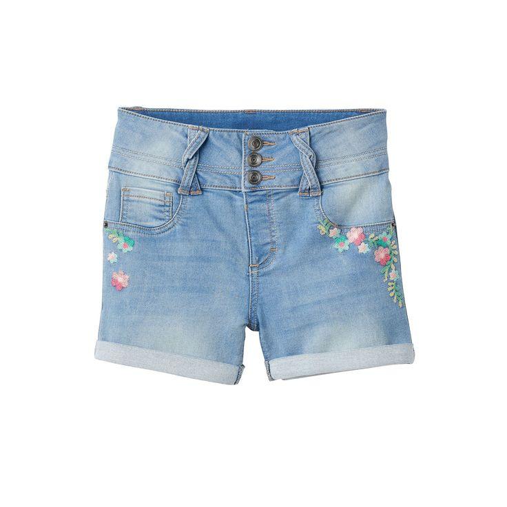 Girls 7-16 & Plus Size SO® Light Wash Braided Belt Loop Jean Shorts, Girl's, Size: 18 1/2, Med Blue