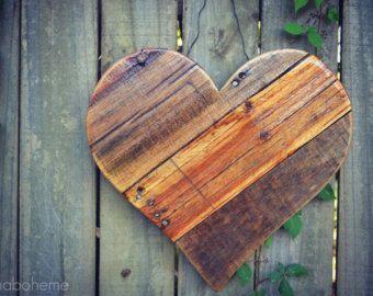 Rustic Reclaimed Wood Hearts - spring, summer wood door hangers/ garden and home decor