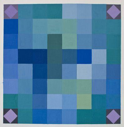 Tavola di pentamini con colori freddi con contrasti agli angoli.