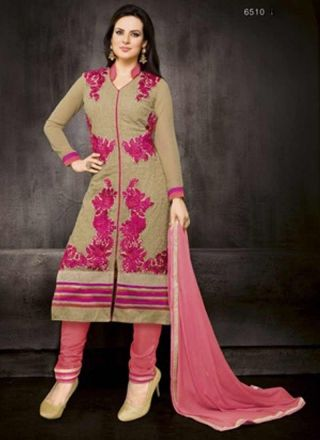 Light Green With Pink Fancy Designer Casual Wear Long Churidar Suit