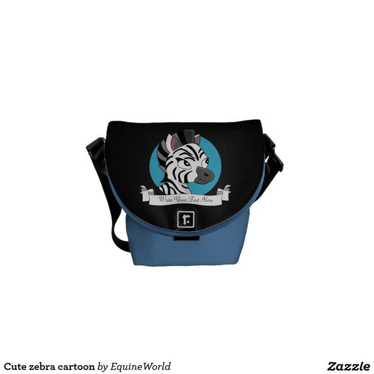 Cute zebra cartoon messenger bags