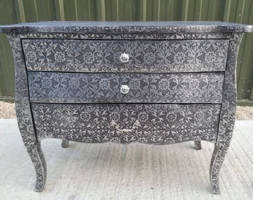 Blackened Silver Embossed Metal Chest Of 3 Drawers   Buy Now At Scoutabout  Interiors. Find This Pin And More On Shabby Chic Furniture ...