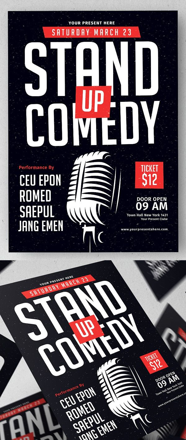 Stand Up Comedy Flyer Template Flyerdesign Flyertemplates Postertemplate Posterdesign Psdflyers Businessflyer Corporateflyer