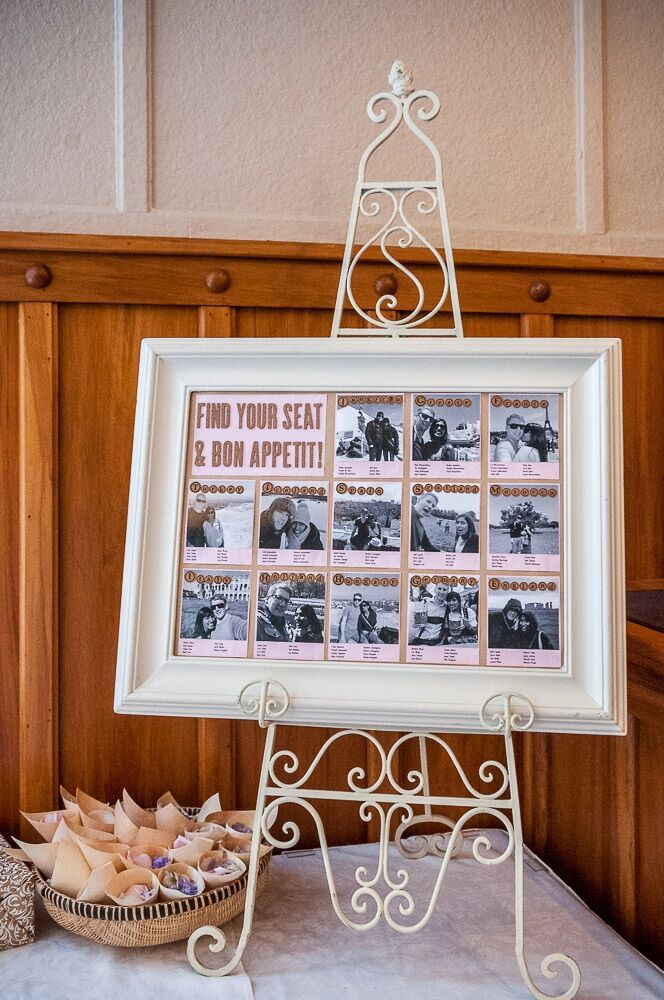 Wedding of Pumudi and Neil, February 2016 - pink and black and white photo montage seating plan with cork country names