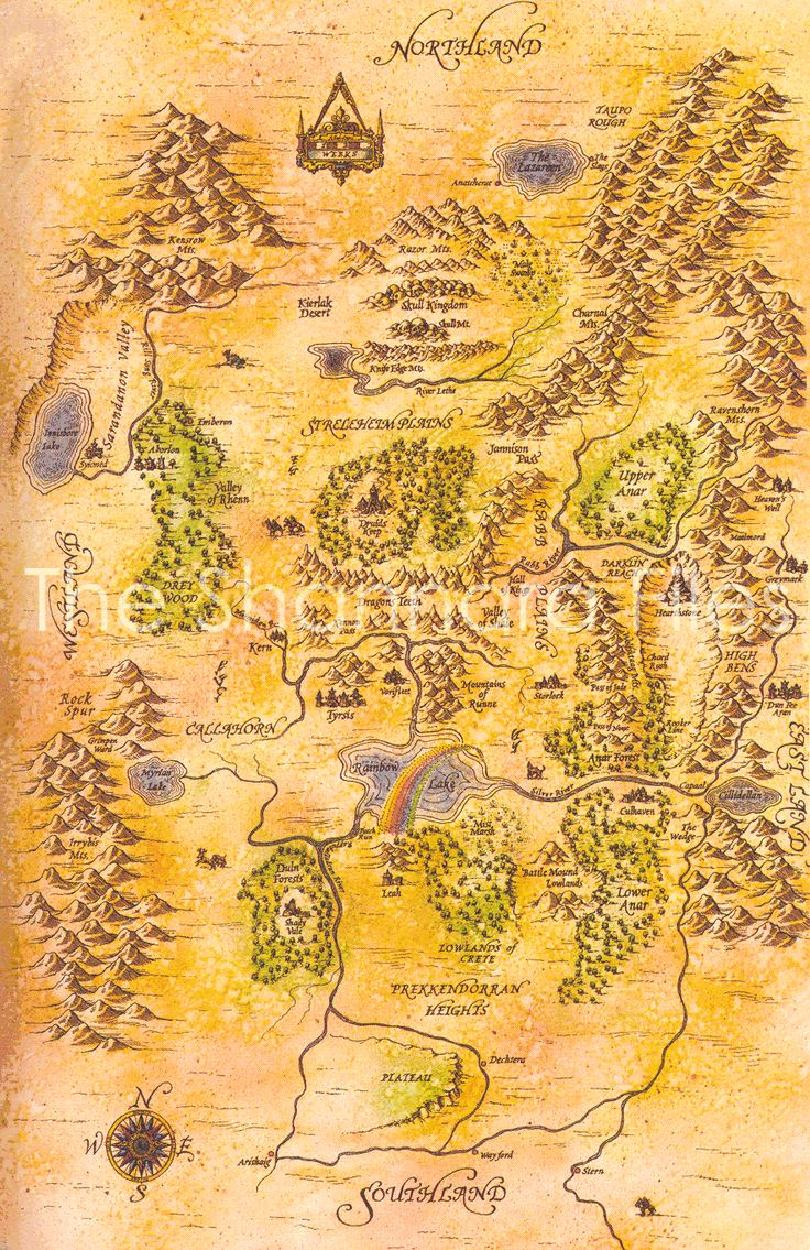 Shannara Four Lands Map from High Druid of Shanara series by Terry Brooks