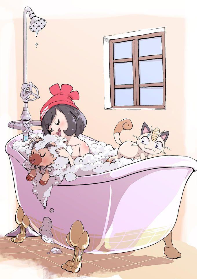 Chicken Hat Trainer washing her Pokemon in the bathtub.