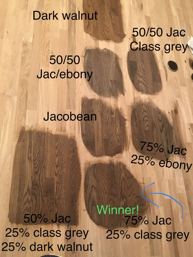 Chose our white oak hardwood stain color today. The winner is 75% Jacobean and 25% classic grey