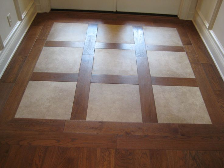 Porcelain inlays in hardwood stunning entry of foyer for Entrance foyer tiles