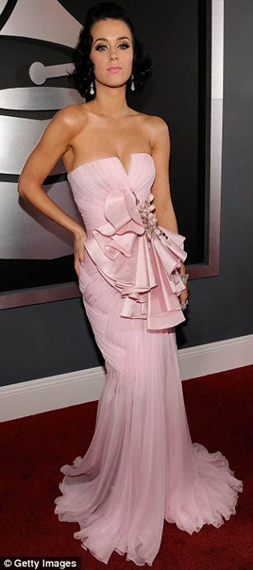 Katy Perry in Baby Pink Ruffled Gown