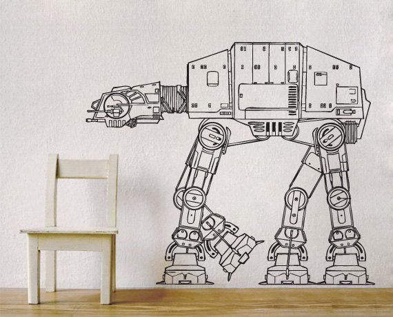 Hey, I found this really awesome Etsy listing at http://www.etsy.com/listing/168954797/star-wars-at-at-walker-vinyl-wall-decal ***Absolute must for Baby Kevin's wall***