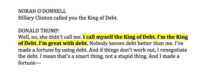 Donald Trump is the King of Debt.